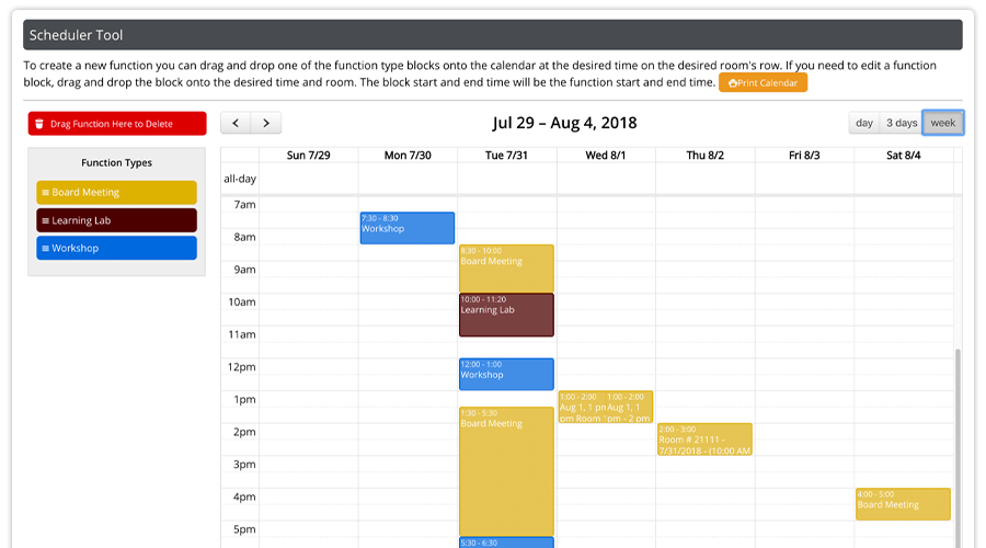 In the Logistics Module, functions are an overall container, or the highest level of organizing your resources. Functions would be date, time, and room for an event, and within those containers you can sort your resources.