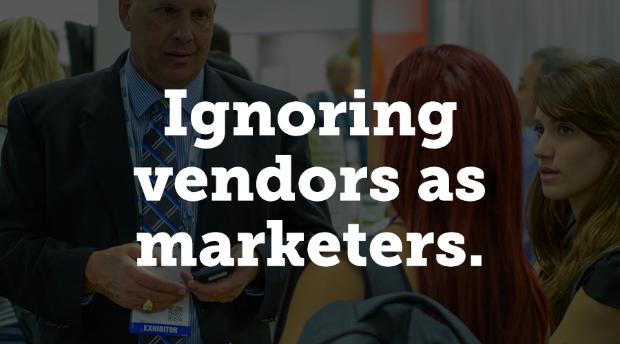 Most people who perform some function for events are proud of their work. If you're in a niche industry, incentivize vendors for your attendees, or exhibitors and sponsors, to market your event to reach a wider audience.