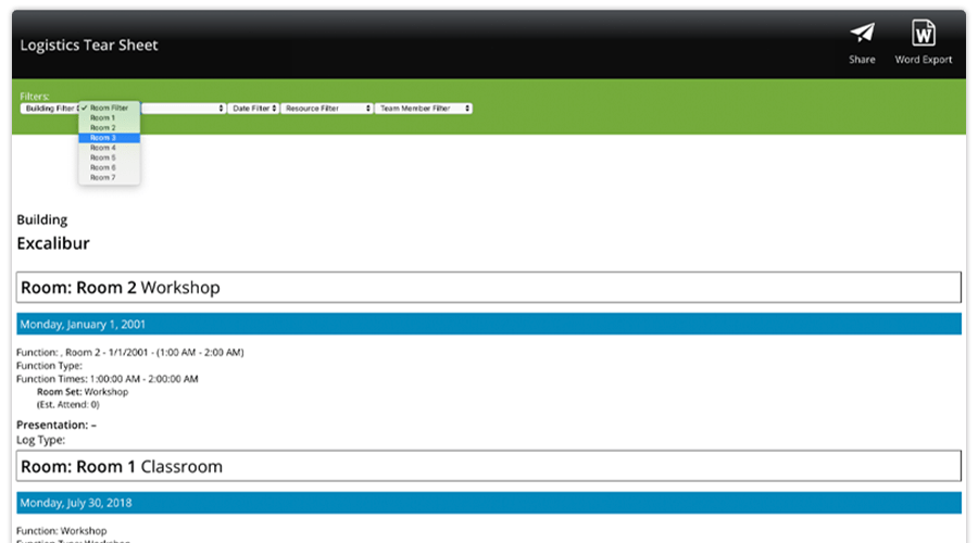 CadmiumCD is currently working on two major Stock Reports within the Logistics Module. One is team member-specific, so you can view a schedule for each individual working at or presenting at your conference. The other lets you filter by building, room, date, or resource and print out a schedule associated with that.