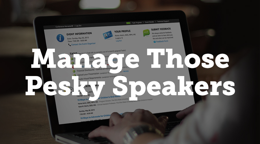 Speakers are notoriously hard to manage. Tracking submissions through email and spreadsheets is one way to do it, but it's not ideal.