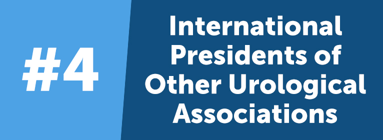 This is the most interesting group of VIPs. AUA strives to foster collaboration amongst urologists worldwide, so they provide key partner leaders and presidents of international urological associations VIP status as well. This helps the global urologic community participate in the AUA Annual Meeting and solidifies AUA as an international leader of the urologic community, while at the same time providing AUA with an opportunity to reciprocate some of the wonderful hospitality that is shown to our own leadership when representing the organization abroad.