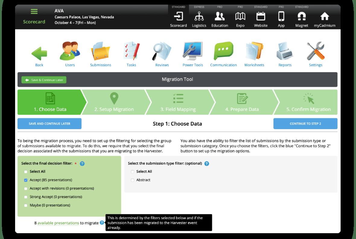 Scorecard Harvester Migration Tool Screenshot
