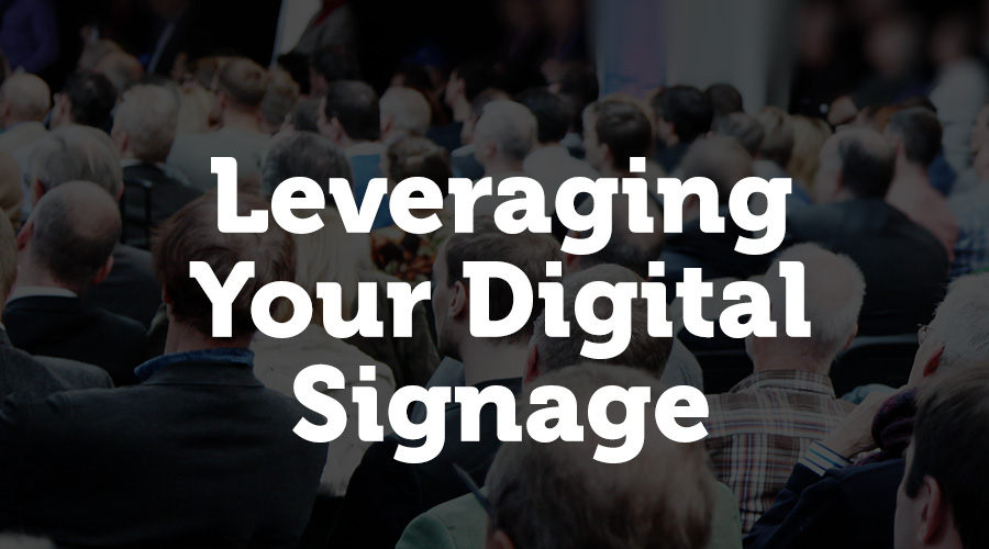 Your event's digital signage is a built-in marketing effort for your event. One way that you can use this to your advantage is to encourage users to actively share on social media with your brand or event hashtag for a chance for their post to show up on a social media wall on the screens around the venue.