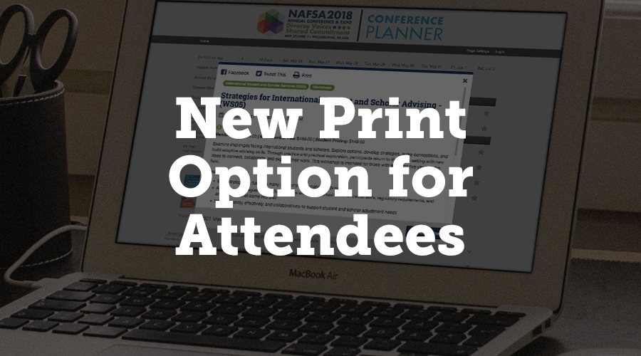 """Your website can now give attendees the option to print information about a presentation. In the navigation tab on the settings page, click the popup subtab, and choose """"yes"""" under Show Print Button. The print button will appear in top bar of the presentation popup. When attendees click this button, it will open a page formatted for printing."""