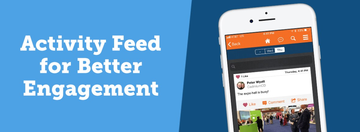 An Activity Feed allows attendees ton make posts to a live feed, such as photos & comments about the conference. Other attendees can see those posts and respond to them, increasing engagement with the app.