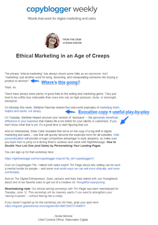 copyblogger personalized email example