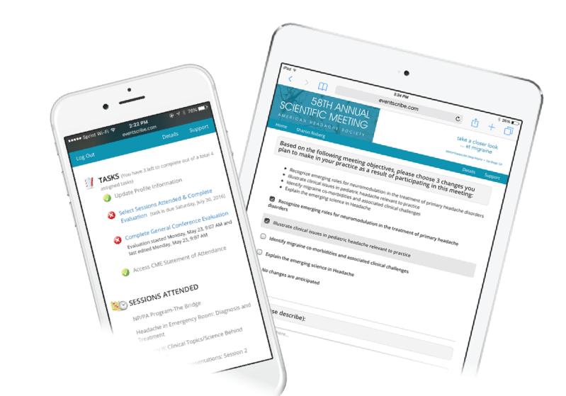 Event app survey screenshot