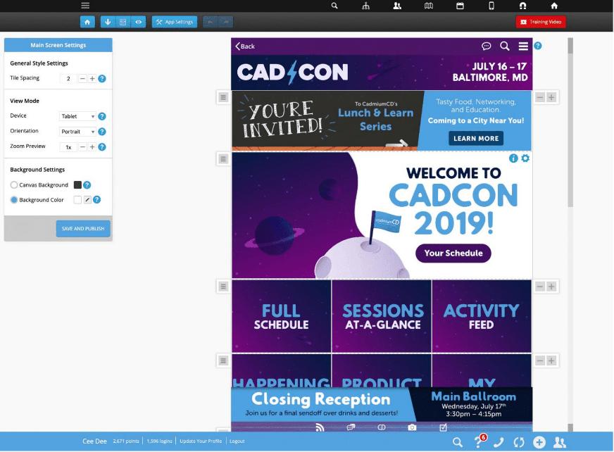 Main screen editor screenshot