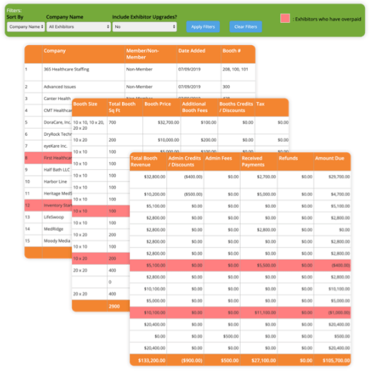 Screenshots of financial reports generated by the Expo Harvester