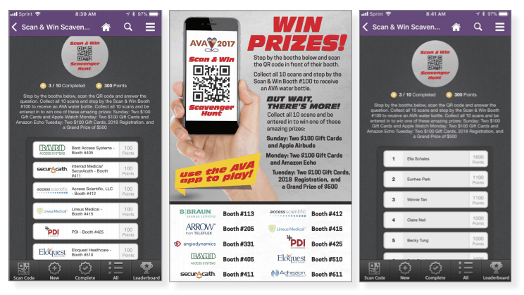 AVA used CadmiumCD's digital scavenger hunt feature within the eventScribe Mobile App that increased participation and overall sponsorship revenue.