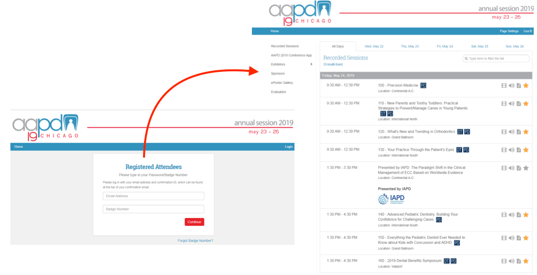 Integration using Experient's RTS to query attendees by their badge number. In addition to that we created a daily/hourly routine that fetched all of the registration updates including all onsite registrations.