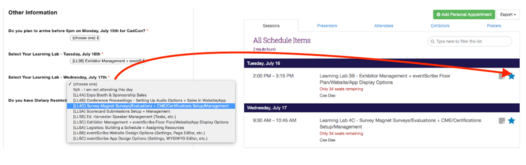 Items added during registration instantly show up on attendees' schedules, marked with a blue star.