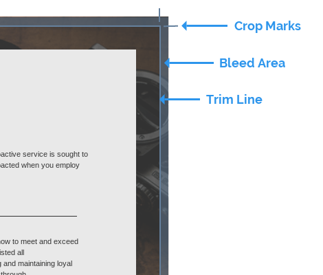 If your poster has a solid background color, or if images touch the border of the page, setting bleed marks will indicate where the edge of your poster are.