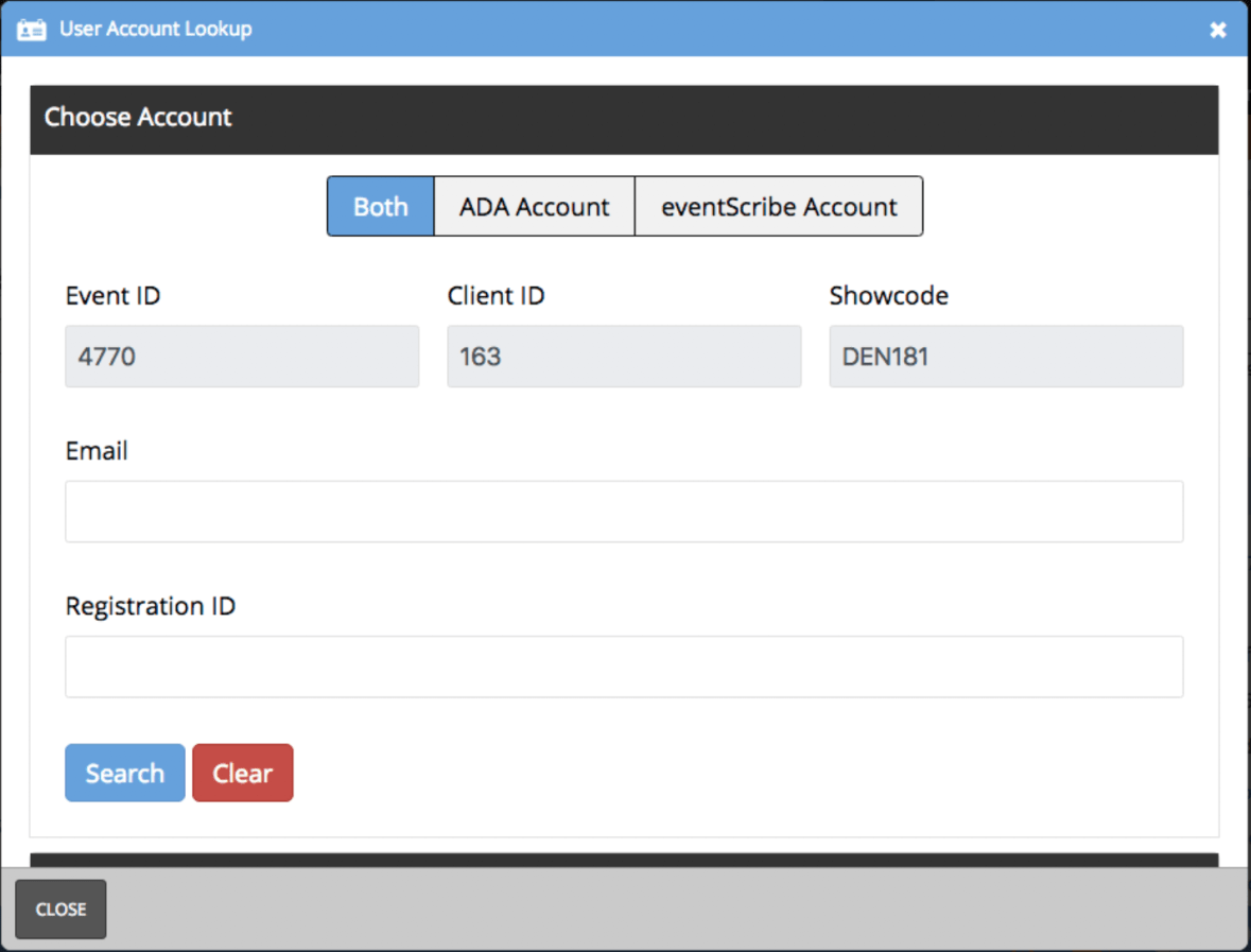 This feature has been designed to help you quickly solve login issues that may come up while working the app support desk. For example, if you search for an account, this tool may pass back that the attendee is not a member or has not registered for the conference.