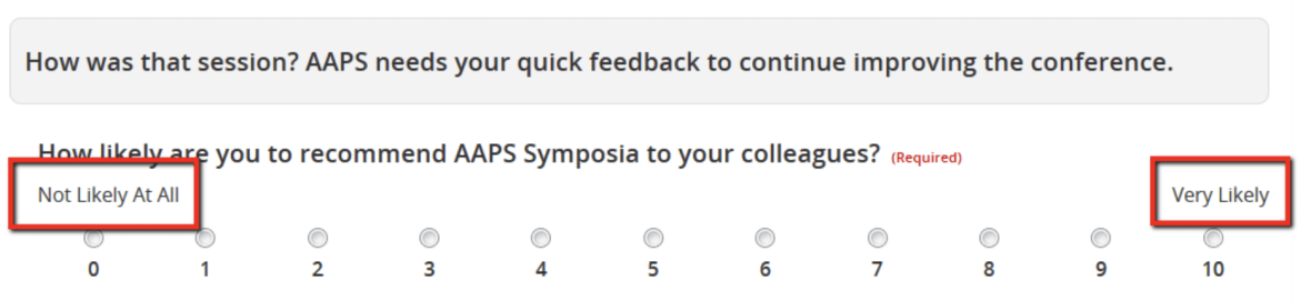 The Survey Magnet now supports a new question type - net promoter score.This question can be used to ask attendees to rate your organization's event on a scale from 1-10.