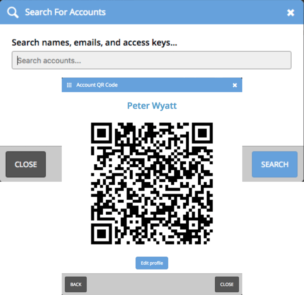 """This feature allows you to quickly lookup accounts within the Mobile App. The """"Search eventScribe Accounts"""" link has moved to the right-hand side of the app dashboard. Search for the user, see their account information, including the QR code to login to the Mobile App."""