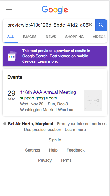 When Google indexes the site, it will generate rich widgets in search results as well as other Google products like Google Maps. Here is a sample of how this widget might look