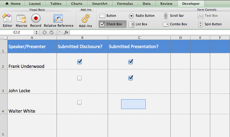 If you're managing certain tasks through Email, Word, and Excel, use Excel's check box object to keep track of submissions and completed tasks.
