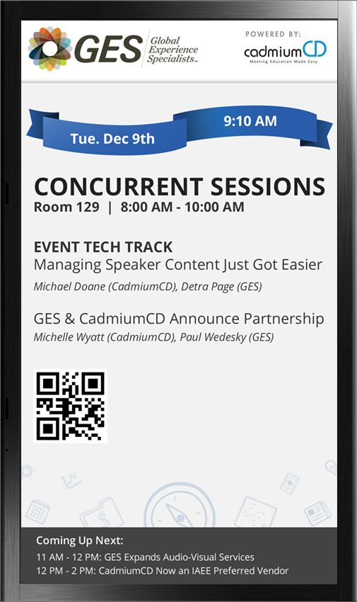 CadmiumCD and GES have partnered to provide a robust conference technology solution that delivers data instantly to conference digital displays through CadmiumCD's Conference Harvester event management software.