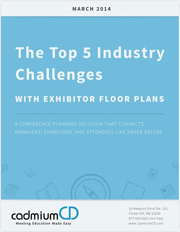 Download The Top 5 Industry Challenge with Expo Floor Plans to find out how you can manage your conference, event, or meeting better and automatically create a beautiful floor plan for your attendees.