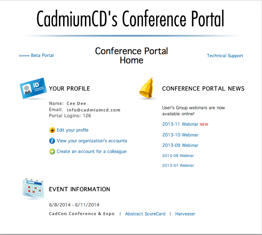 The Conference Portal for clients before updates.