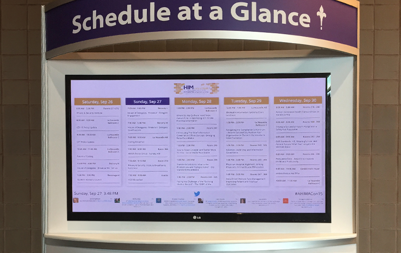 Replace your session at a glance board with digital signage at your next conference so you can provide attendees with the most up to date information available.