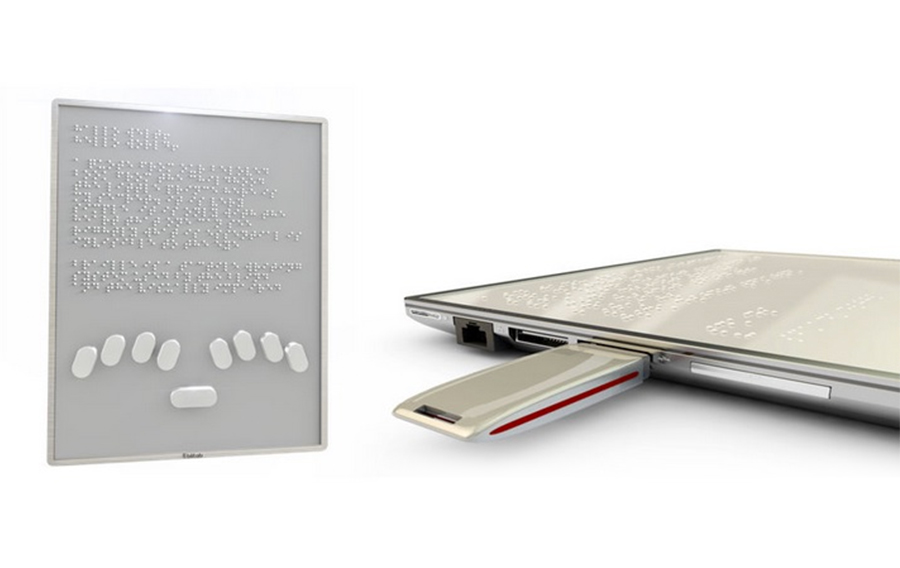 Blitab is a touchscreen braille writer for tablets. It has multiple inputs and allows users to read braille on a touchscreen.