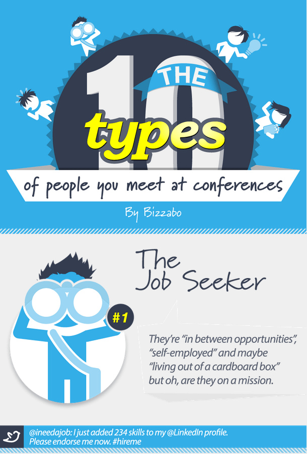 Event Planners, Attendees, and Exhibitors have all seen these people at the conference they've been to. Sit back and chuckle with this meetings industry infographic from Bizzabo