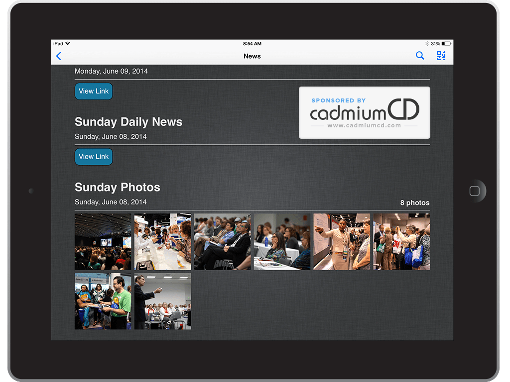 Publish a show daily that is part conference news/part program book by creating a pull-out section that has the abbreviated daily schedule, a current exhibitor list, shuttle bus schedules, local area information, and, most importantly, a reminder to check the app for session listings, exhibitor descriptions, etc.