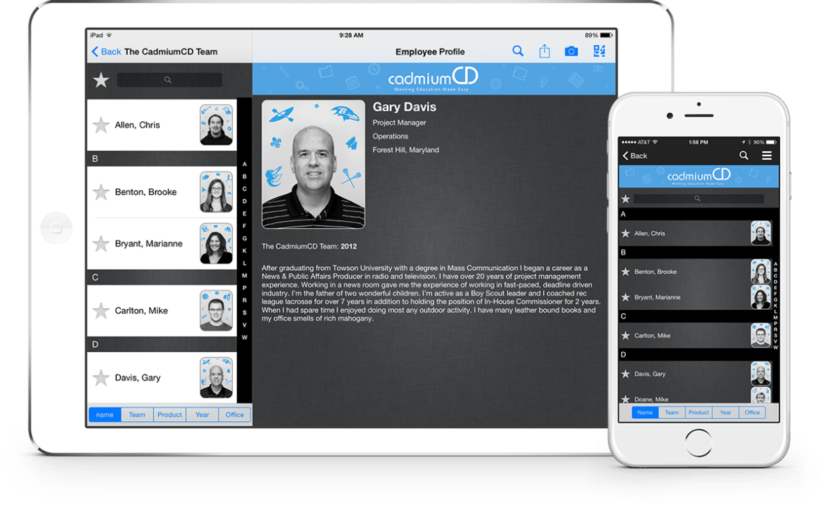 The Who's Who section in the eventScribe app allows meeting planner to add special interest groups to the app. These might include employees, volunteers, or students.