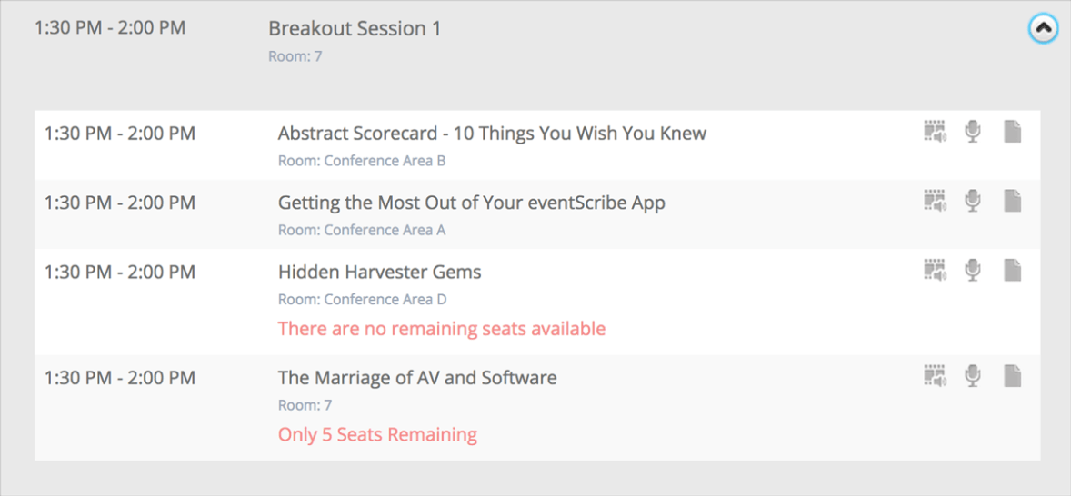 The eventScribe Itinerary Planner by CadmiumCD now allows attendees to register for sessions with a limited number of seats. A red block of text appears below the title of the session highlighting the number of seats available.