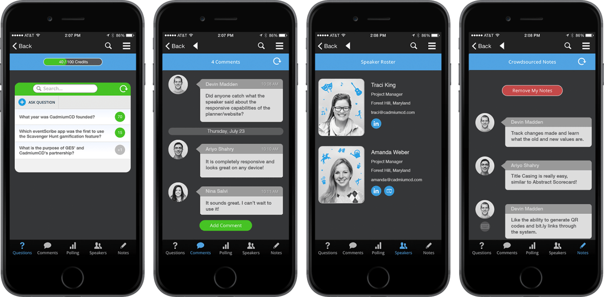 A series of images shows screenshots from an iPhone version of eventScribe ARS. The first image is where attendees can ask and upvote questions, the second is where attendees can interact via comments in an in-session social network, the third shows speaker social profiles and bio pictures, and the fourth shows crowdsourced notes from attendees.
