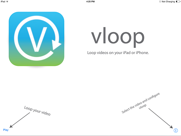 Step 3 of how to loop at video at your conference: download and open the vloop app, or similar.